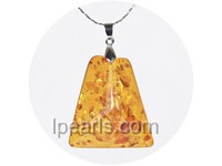 5ps 36mmx50mm cognac amber pendant with 18K GP mounting