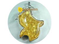 5ps 50mmx76mm orange amber pendant with 18K GP mounting