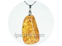 5ps 38mmx60mm cognac amber pendant with 18K GP mounting