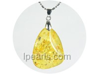 5ps 36mmx52mm cognac amber pendant with 18K GP mounting
