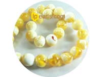 wholesale 14mm white&yellow color round amber strand