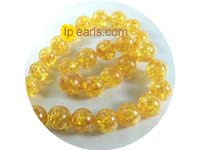 14mm orange color round amber strand on wholesale