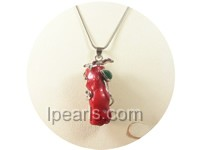 2.5*4cm nice red coral brooch with green jade