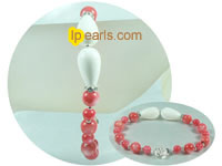 pink coral and white giant clam shell bracelet
