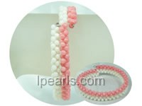 adjustable 3*6mm white and pink coral bracelet