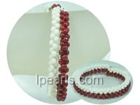 "cute ""eight"" shape 3*6mm white and red coral bracelet"