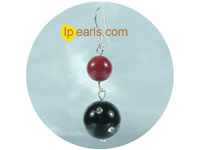 red and black sterling silver hook earrings