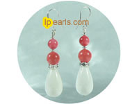 wholesale pink coral and white giant clam shell earrings