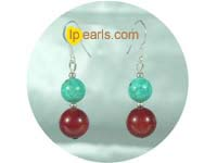 8mm red coral with 10mm green turquoise earrings