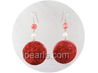 25mm coin shape red coral earrings with white pearl