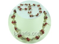 double rows 8mm round red coral twisted necklace