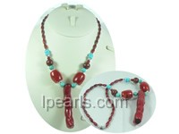 5*11mm red rice coral necklace with red tubby coral