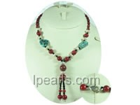8mm round red coral necklace with irregular turquoise