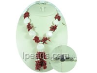 20mm round and flat white coral necklace with coral swigs