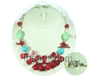 18*20mm melon seed shape red coral necklace with turquoise