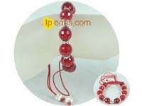 knitted bracelet in 12mm red crystal beads
