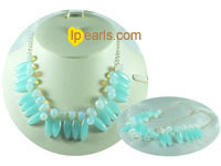 cute opal with crystal bead necklace on wholesale