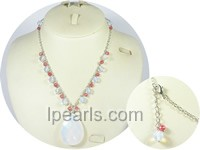 wholesale 8mm white round faceted crystal necklace