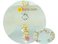 7-8mm yellow gold and white top drilled pearl bracelet