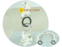 three strands twisted freshwater jewelry pearl bracelet