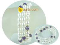 6-7mm white rice pearl with amethyst bracelet on wholesale