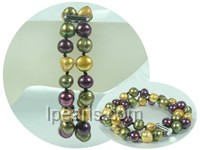 double rows 10-11mm multicolor potato freshwater pearl bracelet