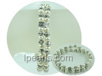 double rows 4-5mm white potato freshwater pearl bracelet