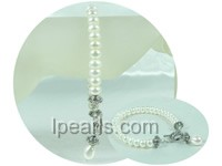 8-9mm white button and rice freshwater pearl bracelet