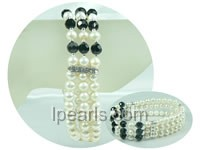 three rows stretchy 5-6mm and 6-7mm freshwater pearl bracelet