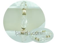 6-7mm pink rice pearl and white glaze bracelet