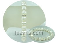 elegant 8-9mm white potato pearl elastic bracelet on wholesale