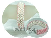 multi-use coral and white potato freshwater pearl bracelet