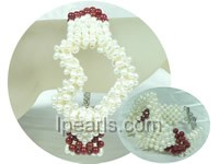 hollow heart shape white pearl and red coral braid bracelet