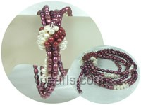 multi-strand purple rice pearl and white potato pearl bracelet