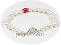 7-8mm white potato freshwater pearl bracelet with 8mm jade