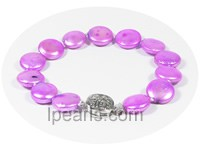 12mm purple pink coin freshwater pearl bracelet