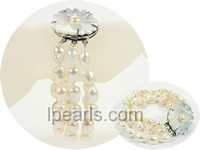 3 row white 9-10mm smooth on both sides pearl bracelet