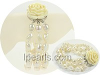 three row white freshwater pearl bracelet with 9-10mm nugget pea