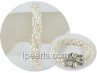 wholesale three rows twisted patato pearl bracelet