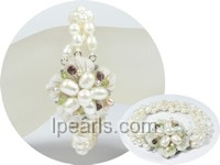 wholesale three rows white twisted rice pearl bracelet