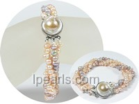 wholesale three rows multi colors twisted patato pearl bracelet