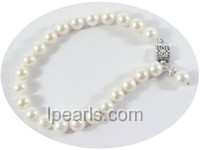 wholesale 7-8mm white round freshwater pearl bracelet