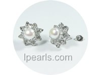 white pearl earrings with 18K GP mounting and zircon