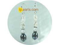 sterling silver freshwater pearl dagling earrings with crystal