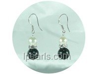 6-7mm white potato freshwater pearl dangling earrings