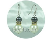 6-7mm black color potato freshwater pearl dangling earrings