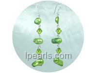 8*13mm green blister freshwater pearl dangling earrings