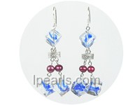 6-7mm red freshwater pearl earrings with crystal