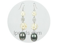12mm and 16mm white ball shape freshwater pearl earrings