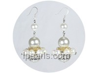 6-7mm white freshwater pearl earrings with cloisonnes
